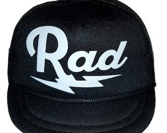 95ce222cf25e6 Rad Radical Lightning Bolt Black Baby Sized Mesh Trucker Hat Cap Newborn
