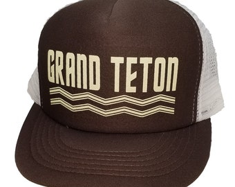Grand Teton Wyoming Snapback Mesh Trucker Hat Cap National Park Tetons aa6e2b2933c5