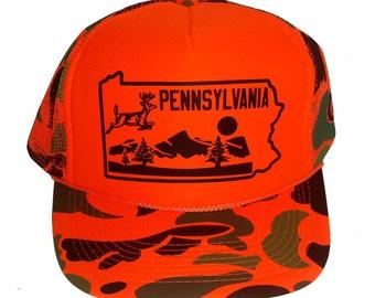5d435acbf5aa8f Pennsylvania Deer State PA Snapback Mesh Trucker Hat Cap Orange Camo  Camouflage