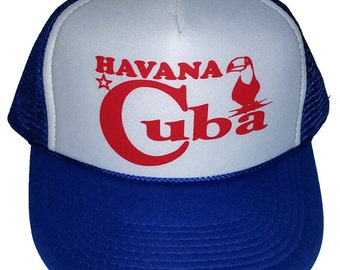 9e26965c21f25 Havana Cuba Blue Toucan Snapback Mesh Trucker Hat Cap Non Cuba Origin
