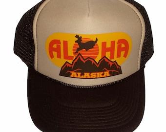 06c97009b26 Brown Tan Aloha Alaska Snapback Mesh Trucker Hat Cap