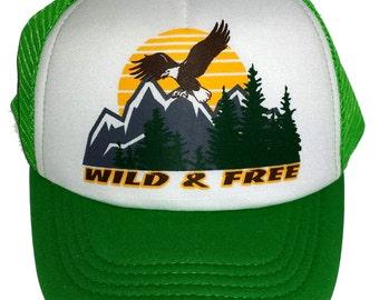 Kid s Youth TODDLER Green Wild   Free Mesh Trucker Hat Cap 1ae18fa986b9