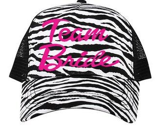c086cdee37e Zebra Print Team Bride Mesh Trucker Hat Cap Snapback Bachelorette