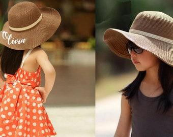 3990ccb561d54 Custom Kid s Toddler Wide Brim Girls Straw Floppy Hat Sun Beach Summer  Child Personalized