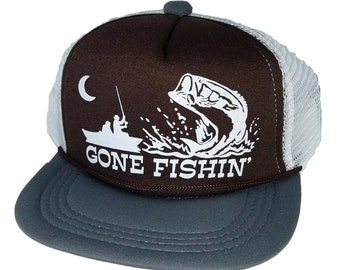 87ee6ca9d3f46 Kid s Youth TODDLER Gone Fishin  Fishing Mesh Trucker Hat Cap Brown Gray