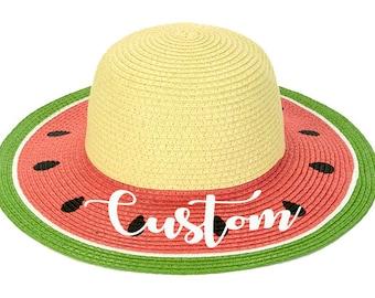 89b5ae14 Custom Watermelon Straw Floppy Hat Cap Summer Sun Beach Bridal Mrs. Party  Bachelorette