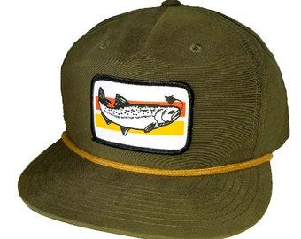 Trout Patch Loden Army Green Boardwalk Snapback Hat Cap Nylon Fly Fishing  Fisherman ec42d39c8fae