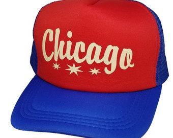 Chicago Illinois Snapback Mesh Trucker Hat Cap Red Blue dc0259786114