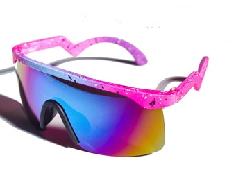 c4606d3c209 Vintage 80 s Neon Paint Splat Zig Zag Mirror Sunglasses Music Fest Festival  Summer Beach Sun UV