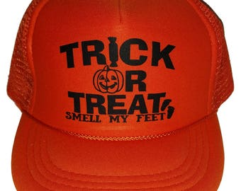 Youth TODDLER Trick or Treat Smell My Feet Halloween Mesh Trucker Hat Cap cfd00c243e3b