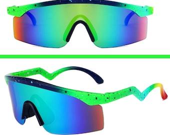 091c3027a5e8e Vintage 80 s Neon Paint Splat Zig Zag Mirror Sunglasses Music Fest Festival  Summer Beach Sun UV 90 s