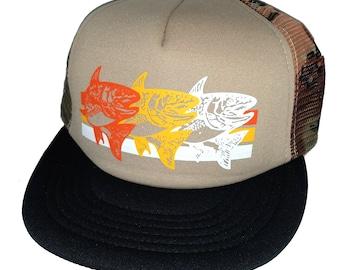 Walleye Tan Camouflage Camo Striped Snapback Mesh Trucker Hat Cap Fishing  Fisherman 1d0a04b74578