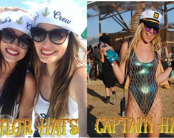 59f77e12e61f9 Aangepaste Sailor Captain Hat Cap mate aangepaste bruid Bacherlorette  muziek festival nautische crew Squad Cruise partij nautische anker