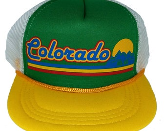 728642364074f Colorado Sunset Stripe TODDLER Snapback Mesh Trucker Hat Cap GYW
