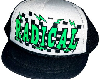 fe4658b286274 Radical Rad Checker Lightning Bolt Black Baby Sized Mesh Trucker Hat Cap  Newborn