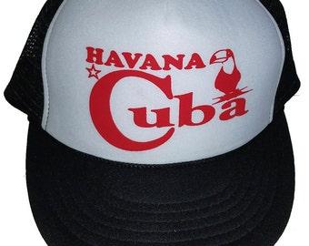 63ba2a43447 Cuba Havana Black White Snapback Mesh Trucker Hat Cap Toucan Non Cuba Origin