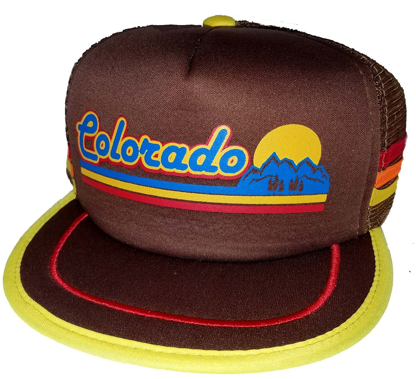 04ad23c6c5ec7 Colorado Mountain Sunset Brown 3 Striped Snapback Mesh Trucker Hat Cap