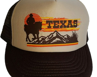 TEXAS SUNSET Cowboy Snapback HORSE Mesh Trucker Hat Cap