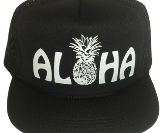 Kid's Youth TODDLER Aloha Black Pineapple Hawaii  Mesh Trucker Hat Cap