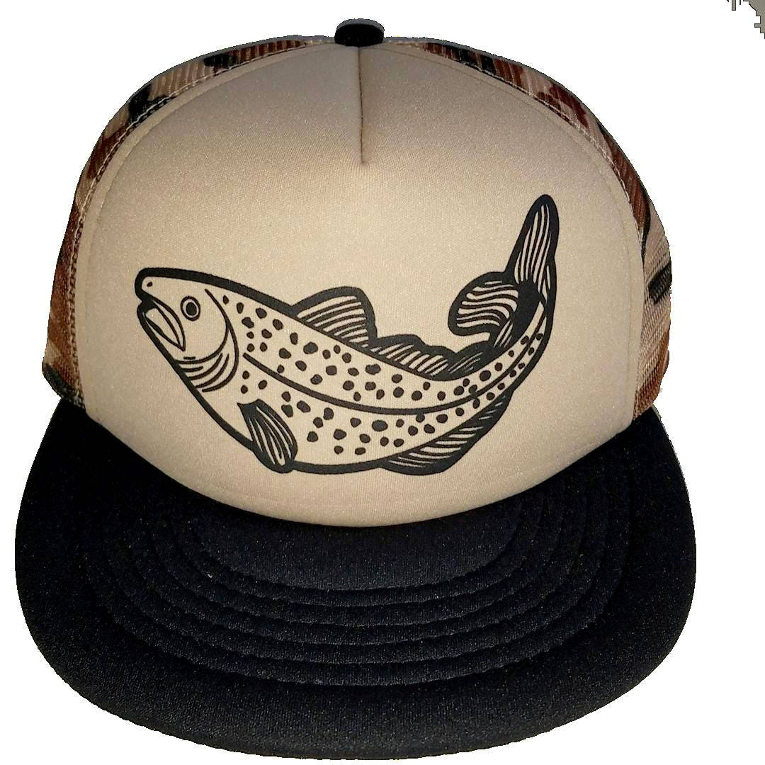 ThatsRad Trout Tan Camo Camouflage Fly Fishing Snapback Mesh Trucker Hat Cap