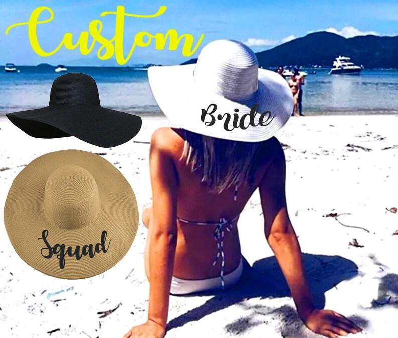 Party Foldable Custom Straw Floppy Hat Cap Summer Sun Beach Bachelorette Honeymoon Bridal Mrs