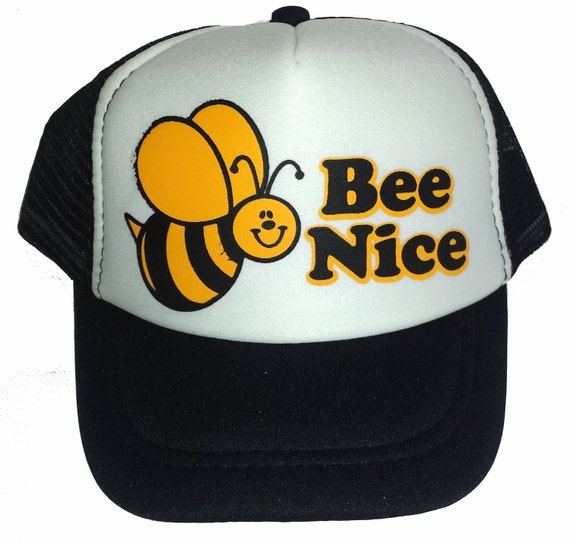 ... KID S TODDLER Bee Nice Snapback Mesh Trucker Hat Cap Black d00349593de6