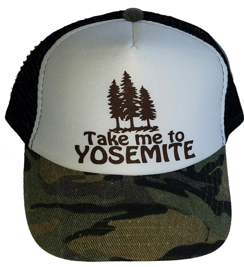 0b98a54a2f8f7 Kid's Youth TODDLER Take me to Yosemite Mesh Trucker Hat Cap Camouflage Camo