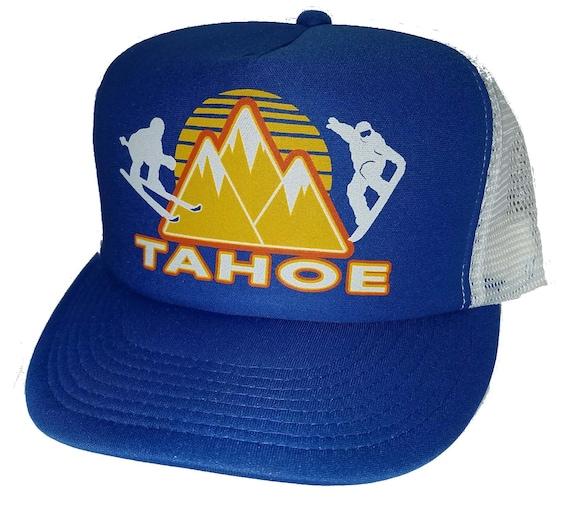 7338941ae64 Lake Tahoe Blue Ski Snapback Mesh Trucker Hat Cap Snowboard