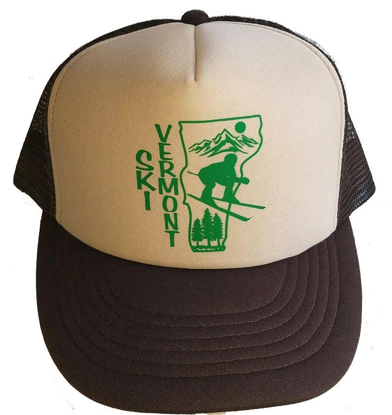 97ebc1eaec4 Ski Vermont Snapback Mesh Trucker Hat Cap Brown Skiing