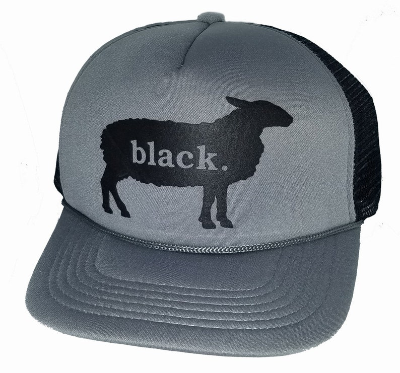 69b9615b0a541 Black Sheep Snapback Mesh Trucker Hat Cap Black Gray