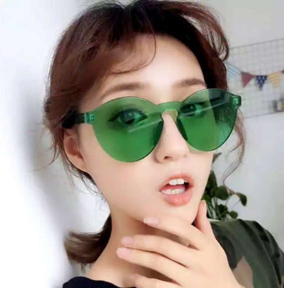 44d6b67f360d3 ... 70 s 80 s  12.99 Rimless Translucent Sunglasses Oversized Tropical Beach  Summer Festival Music Party Rave Color Therapy Rainbow 80 s 90 s