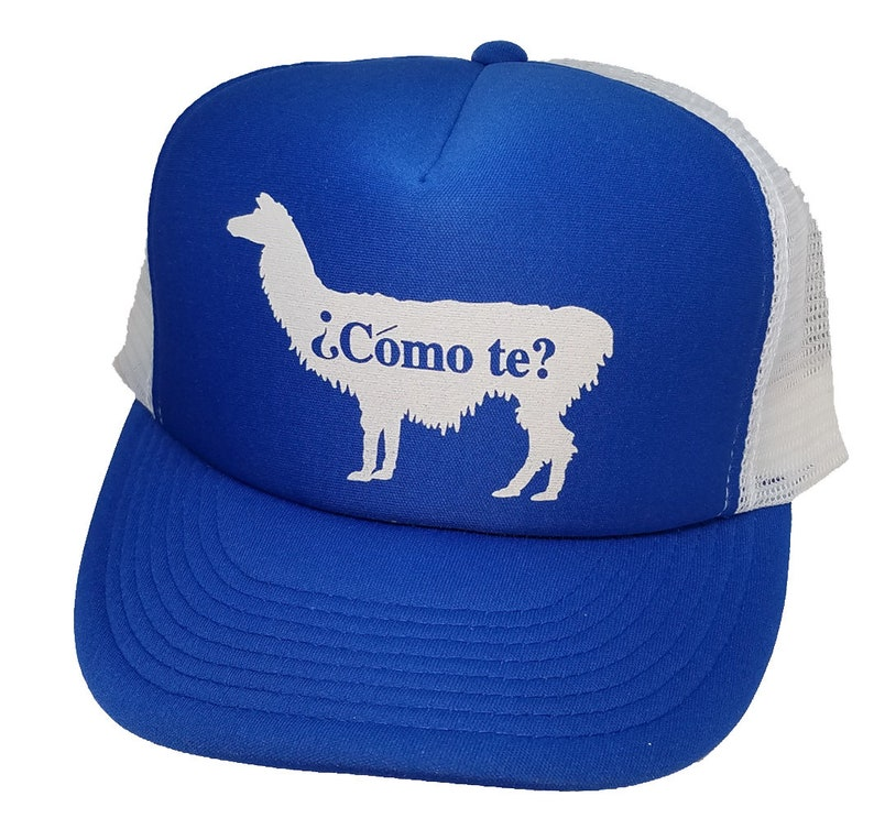 Como Te Llama Snapback Mesh Trucker Hut Mütze blau Spanisch   Etsy