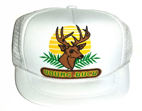 ... Young Buck White Baby Sized Mesh Trucker Hat Cap Newborn Infant e8d90a49ad40