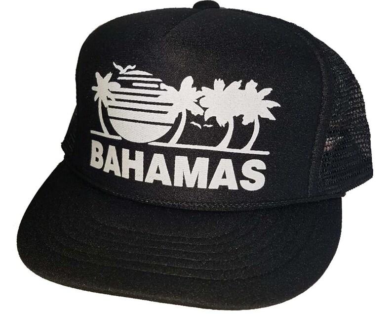 the latest c5c84 4dad2 BLACK BAHAMAS Mesh Trucker Hat Cap Snapback Beach Summer   Etsy