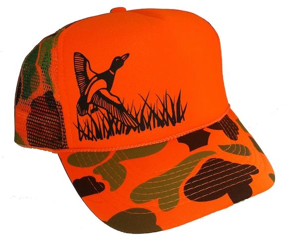 a4a6545dcec286 Orange CAMOUFLAGE Camo FLYING DUCK Mesh Trucker Hat Cap | Etsy