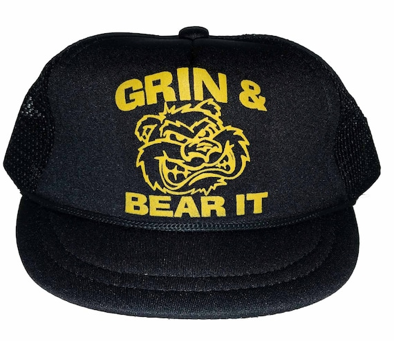 Grin and Bear It Baby Sized Mesh Trucker Hat Cap Newborn Infant b52913f3eaca