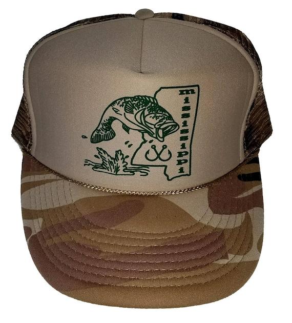 Mississippi Bass Fishing Tan Camouflage Camo Snapback Mesh  cd5f4976f347