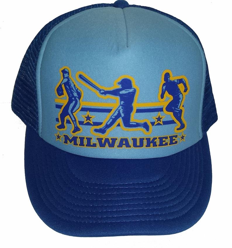Milwaukee Baseball  Snapback Mesh Trucker Hat Cap  Light Royal Blue