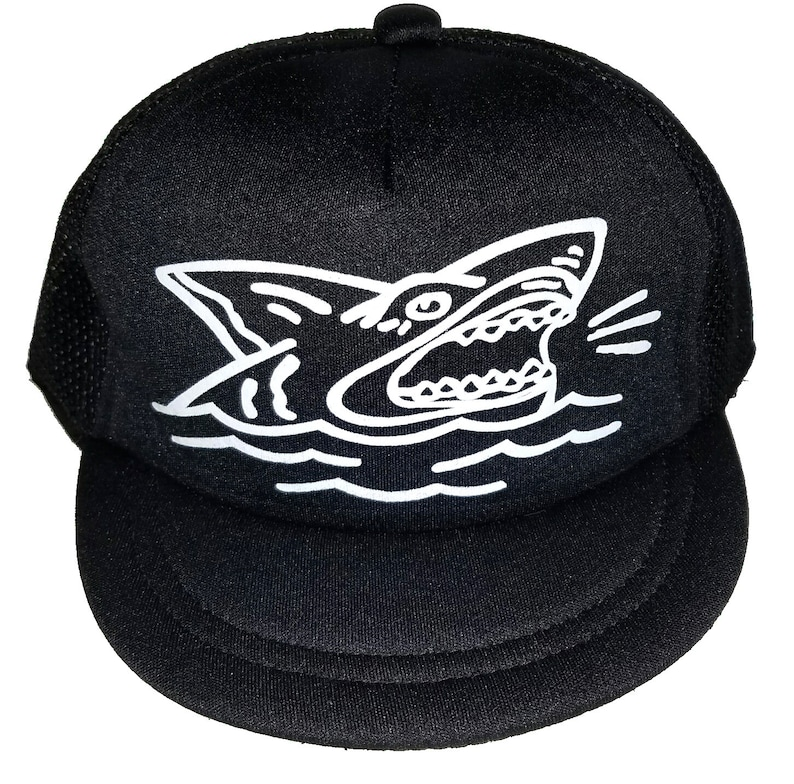 a2bc9159ad5d8 Shark Black Infant Snapback Baby Sized Mesh Trucker Hat Cap