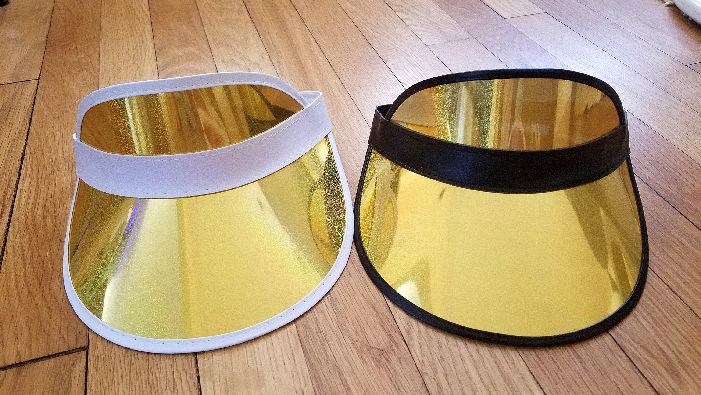 Gold Glitter   Print Summer Beach Transparent Visor Hat Cap Bride  Bachelorette Party Poker Jelly