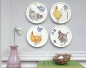 Hens mini wall plates - Chicken Homeware Gift -Country wall art - Wall Décor- Forget me nots -Chicken themed Gift-Decorative Plates