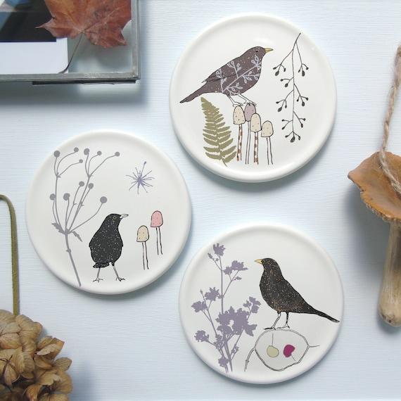 Botanical bird mini wall plates , Bird Homeware Gift , Nature wall art ,  Wall Decor,Bird Decor,Bird Gift Idea,Nature Gift,Decorative Plates