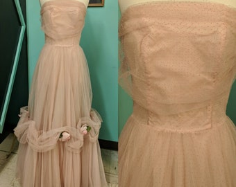 2ec55cd87d9 Vintage 50s Dress Tulle Prom Small Formal VLV Pink Strapless