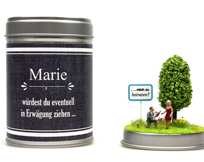 MARRIAGE PROPOSAL in a tin can personalized