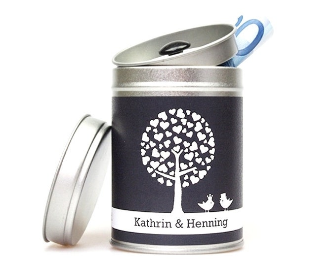 """JUST MARRIED """"TREE"""" personalized wedding tin graphite"""
