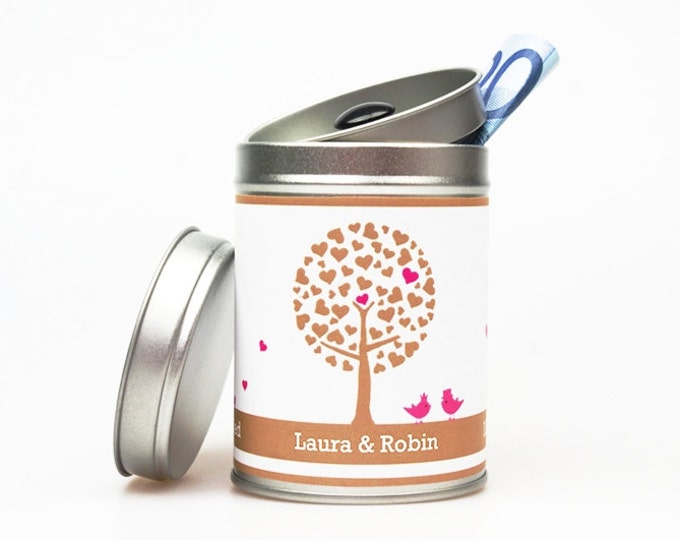 """JUST MARRIED """"TREE"""" personalized wedding tin"""