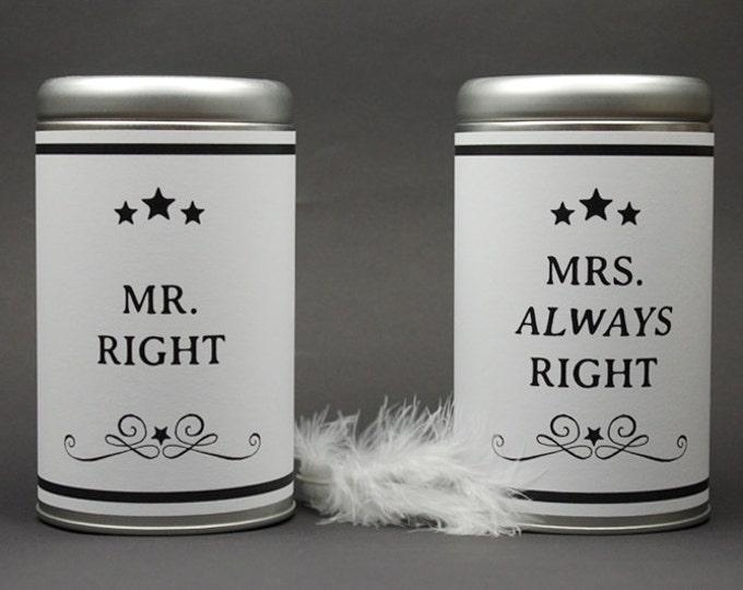 2 XXL WEDDING TINS Mr. Right & Mrs. Always Right