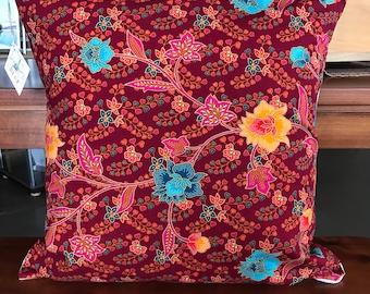 """Ula Ula Hawaiian pillow cover 19""""x19"""", vintage Hawaiian fabric, hand-sewn in Hawaii"""