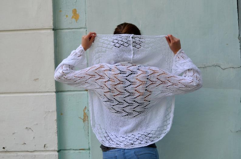 Lace summer shrug long sleeve bolero knit woman/'s bolero Knit bridal shrug sweater white shrug SALE Jacket Long Sleeves