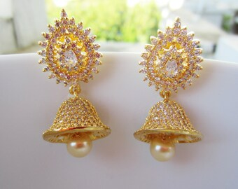 White Cubic Zirconia Jhumkas, Indian Jewelry, Indian Earrings, Bell Shaped, South Indian Jumikis, Gold Jimikis, Bridal Earrings